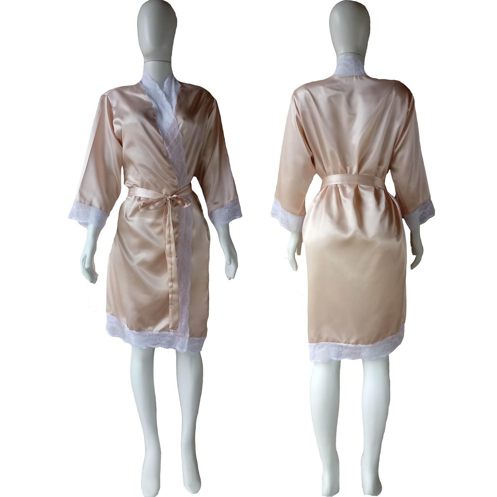 bd553e2e3eddd5 SuperIntima: Robe de Cetim Feminino Com Renda Cor Rosa Nuvem com ...