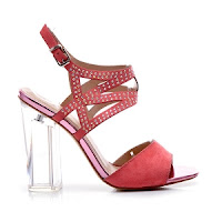 Sandale elegante, corai, cu strasuri si toc transparent ( )