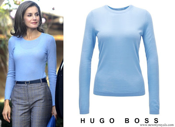 Queen Letizia wore Hugo Boss Fayme crew neck wool sweater