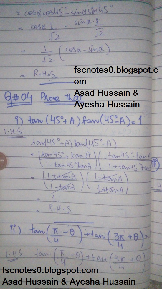 FSc ICS FA Notes Math Part 1 Chapter 10 Trigonometric Identities Exercise 10.2 Question 3 - 4 Written by Asad Hussain & Ayesha Hussain 1