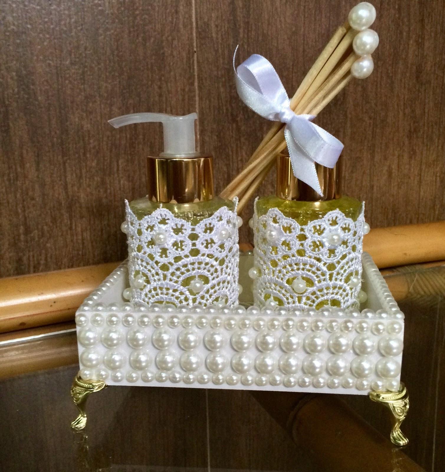 kits Super Luxo Aromatizador e Sabonete Liquido com Bandeja Decorado  #3B2813 1509 1600