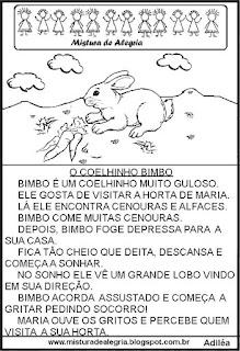 Leitura para alfabetização coelhinho