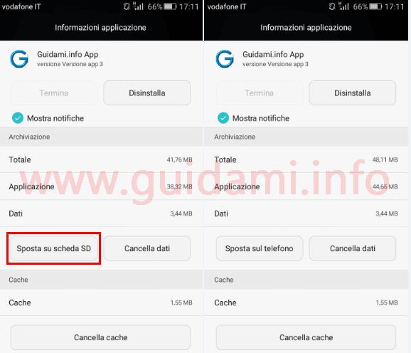 Android spostare app su scheda SD