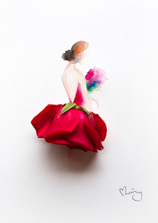 A artista Lim Zhi Wei, conhecida como Limzy, nasceu na Malásia, e se mudou para estudar em Cingapura aos 16 anos. O trabalho dessa artista mostra a delicadeza do seu talento baseado em flores ! A artista mistura aquarela e pétalas de flores naturais para criar desenhos de mulheres e seus vestidos. Suas obras estão atualmente representadas pela Art Xchange Gallery Singapura. Descrição: em fundo branco, uma mulher de perfil em aquarela, cabelos avermelhados presos em coque crespo baixo em tom mais escuro, collant vermelho com as costas a mostra em decote V profundo, segura um buquê de flores nas cores: verde, vermelho, rosa e azul; a saia é composta por uma rosa vermelha de ponta cabeça com as sépalas verdes dando um toque de contraste e acabamento na linha da cintura. Abaixo, à direita, a assinatura da artista: Limzy. Detalhe da assinatura: um coraçãozinho estilizado forma-se à esquerda a partir do alto da letra L.