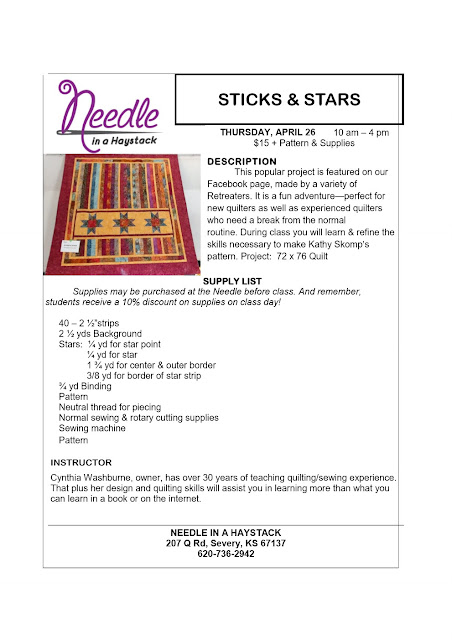 STARS AND STICKS...April 26; Sign up for class along with a buddy & You Get 25% off this April or May 2018 Class.