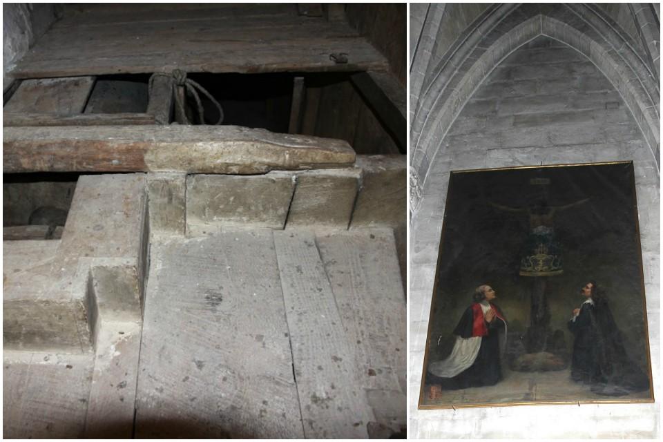 Mecanismo del retablo-tramoya y lienzo cubriendo la hornacina
