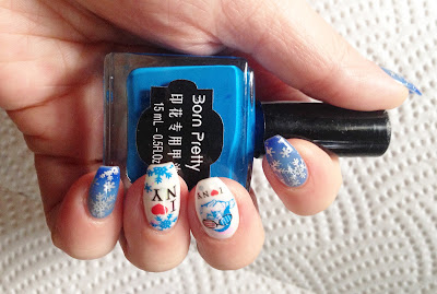 Born Pretty Review Blue Stamping Polish #17