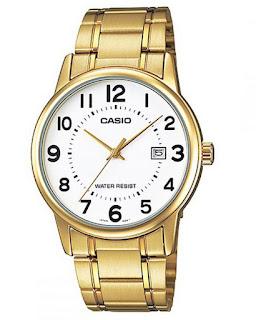 Casio Gents White Dial Quartz Watch MTP-V002G-7BUDF - Gold