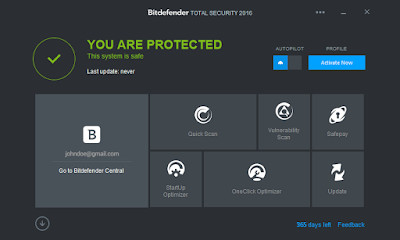 Latest Bitdefender Total Security Dashboard