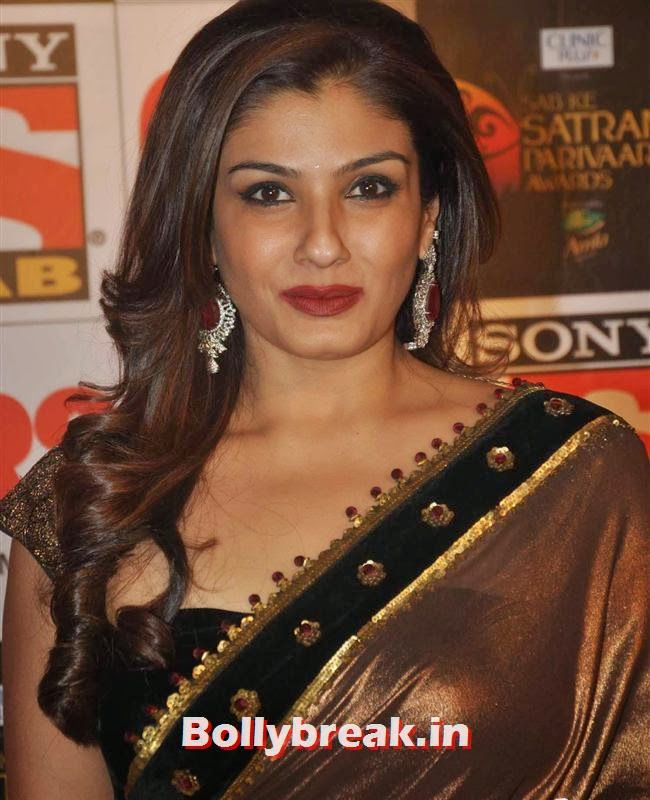 Raveena Tandon, Evelyn, Raveena & Tv Babes at Sab Ke Satrangi Parivaar Awards 2014