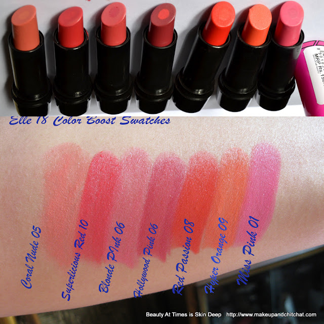 Elle18 Colour Boost Lispticks Swatches