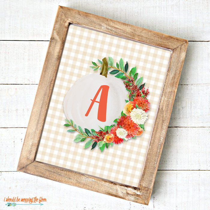 Gingham Pumpkin Monogram Printable