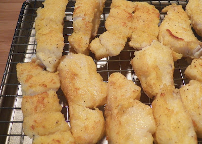 breaded and cooked fish strips