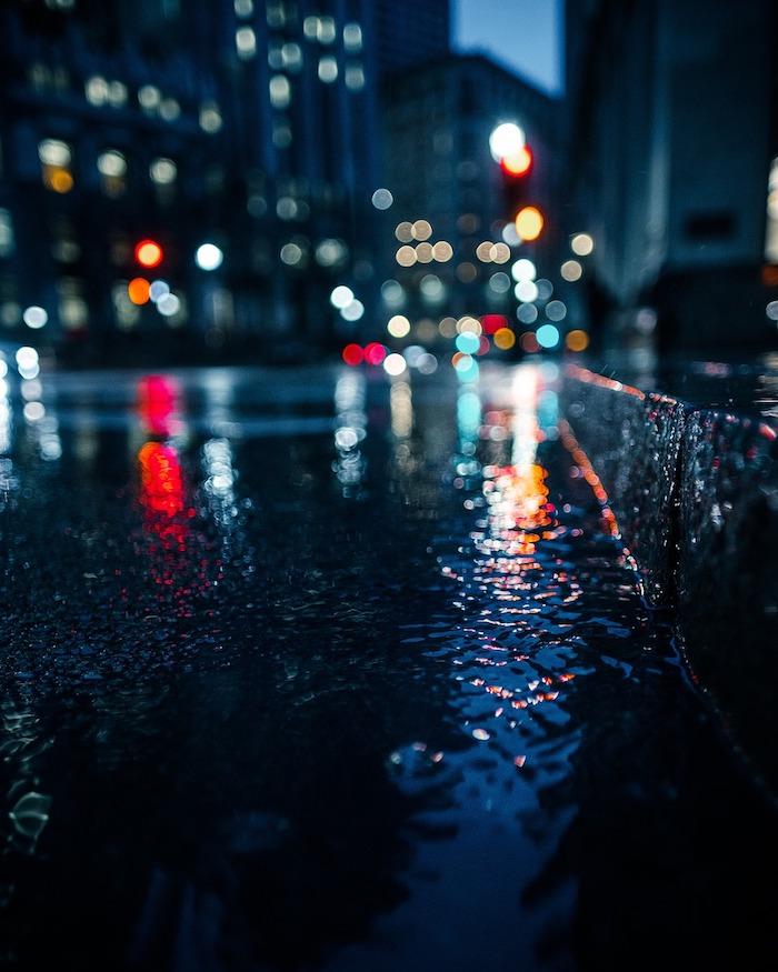 bokeh at night in the rain