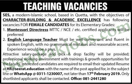 Teaching Vacancies Vacant in in Quetta 12 Feb 2019