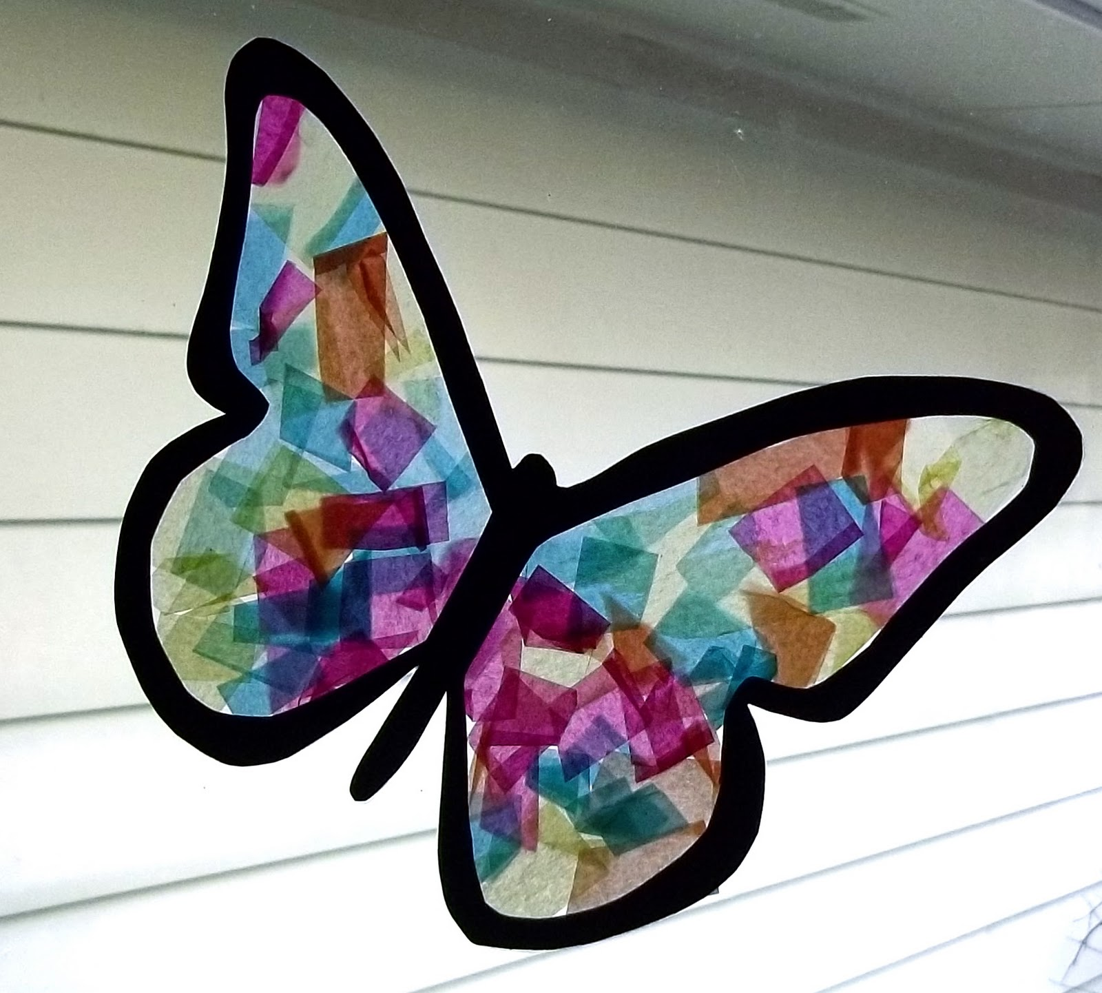 Stained Glass Tissue Paper Butterfly Craft