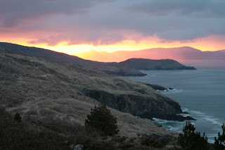 View of cliffs and see, and stunning sunrise from Dzogchen Beara Care Centre