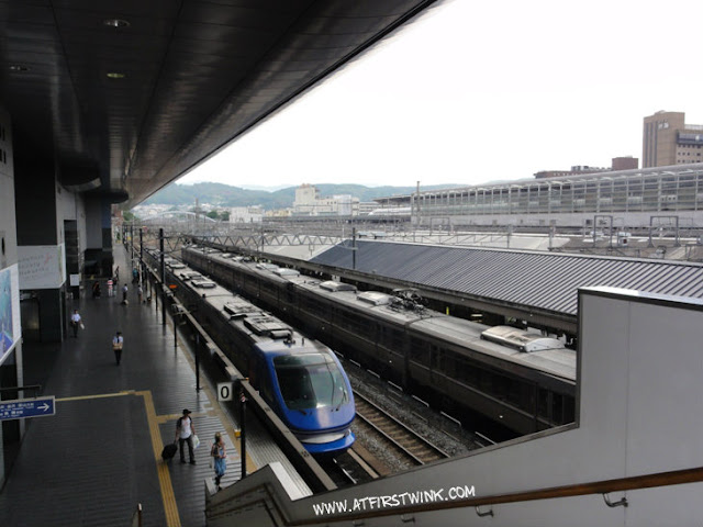 Osaka Japan station blue train