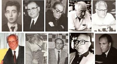 Los ajedrecistas catalanes Montpart, Ingelmo, Gomila, Ridameya, Segura, Dr. Bardera, E. Pablo, Temiño, Colomer y Bas