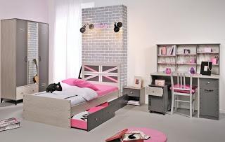 Dormitorio de niña en rosa y gris