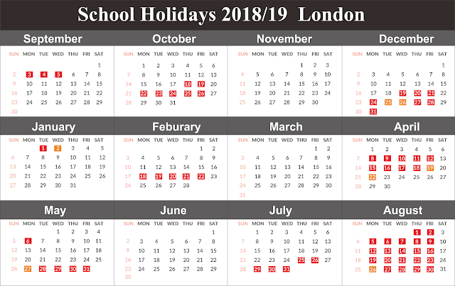 London School Holiday Dates 2019 Free