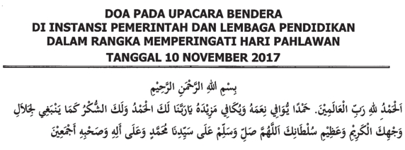 Download Teks Doa Upacara Hari Pahlawan 2017 secara Agama Islam