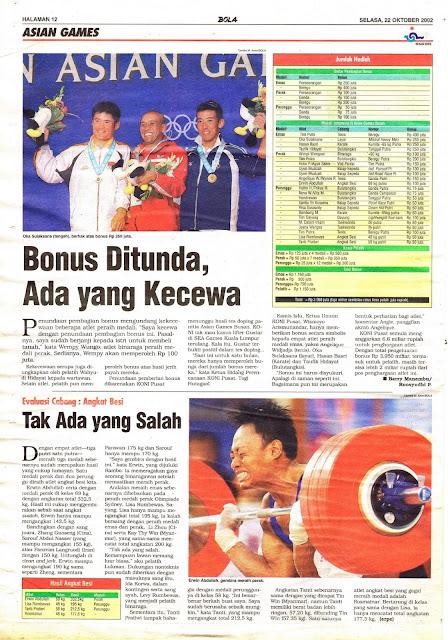 ASIAN GAMES 2001 BONUS DITUNDA, ADA YANG KECEWA
