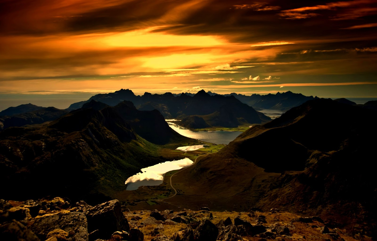 Mountains landscapes nature forest valley lakes wallpaper