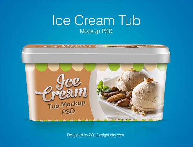 Ice Cream Tub Mockup PSD