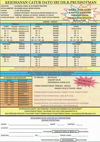 Kejohoana Catur Dato Sri Dr R Prushhotman (2 Oct)