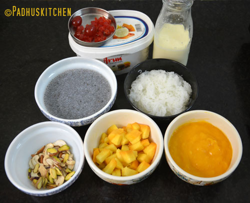 Ingredients for Mango Falooda
