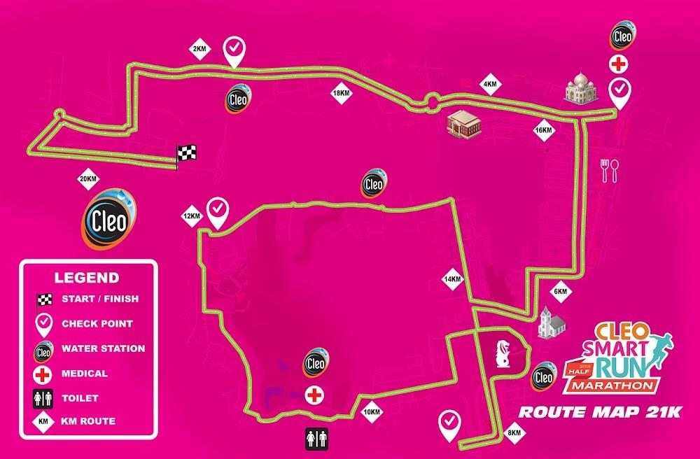 Cleo Smart Run Half Marathon 2018 Rute 21K