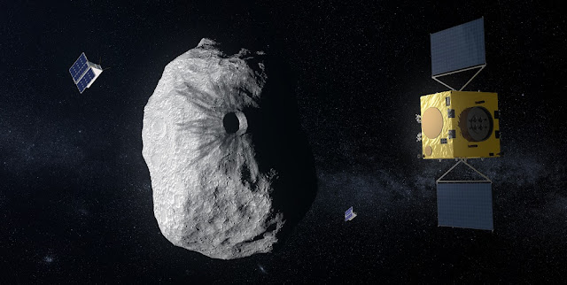 ESA's Hera mission concept, currently under study, would be humanity's first mission to a binary asteroid: the 800 m-diameter Didymos is accompanied by a 170 m-diameter secondary body. Hera will study the aftermath of the impact caused by the NASA spacecraft DART on the smaller body. Credit: ESA–ScienceOffice.org