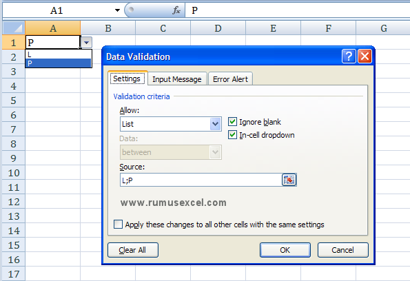 Data Validation di Excel