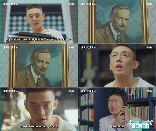 the ghost writer jin o was actually hiding in the painting of se joon writing room -  Chicago Typewriter: Episode 6