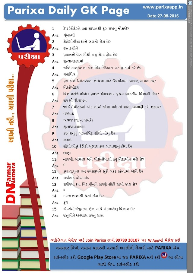 Parixa Daily GK Page Date: 27/08/2016