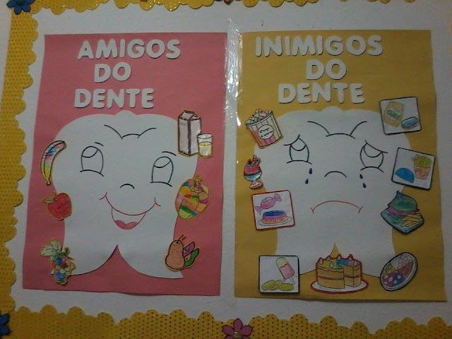 Cartazes Higiene Bucal Amigos e Inimigos dos Dentes Espaço do Educador