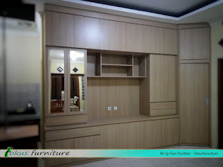 Kabinet tv full plafon tanpa handle