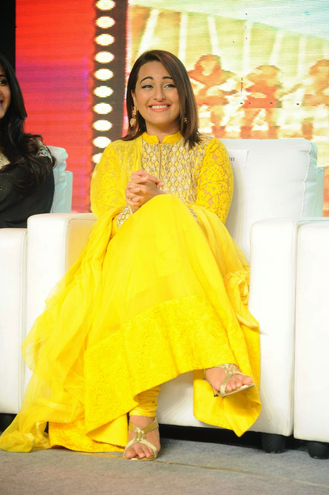 Bollywood Actress Sonakshi Sinha, Sonakshi Sinha Yellow Suit Pics from Lingaa Movie Event