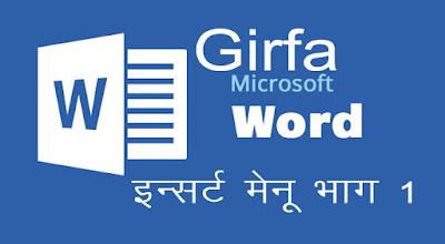 Microsoft Word Hindi Tutorial insert menu