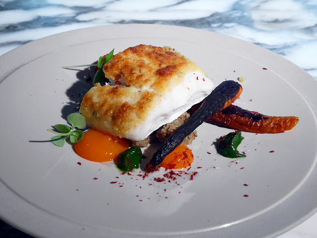 Halibut and sand carrots at Pike & Pine Brighton