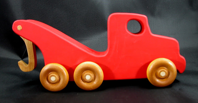 Handmade Wooden Toy Tow Truck From The Quick N Easy 5 Truck Fleet - Red Version