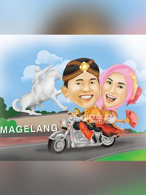 Karikatur Naik Moge di Kota Magelang
