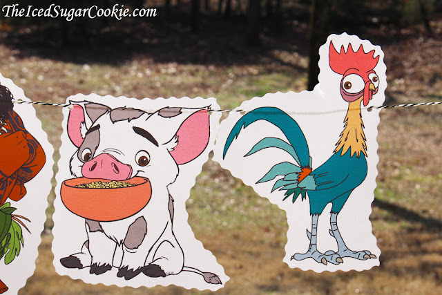 Moana Birthday Party Flag Bunting Banner Garland DIY Idea-Maui, Hei Hei The Rooster, Pua The Pig
