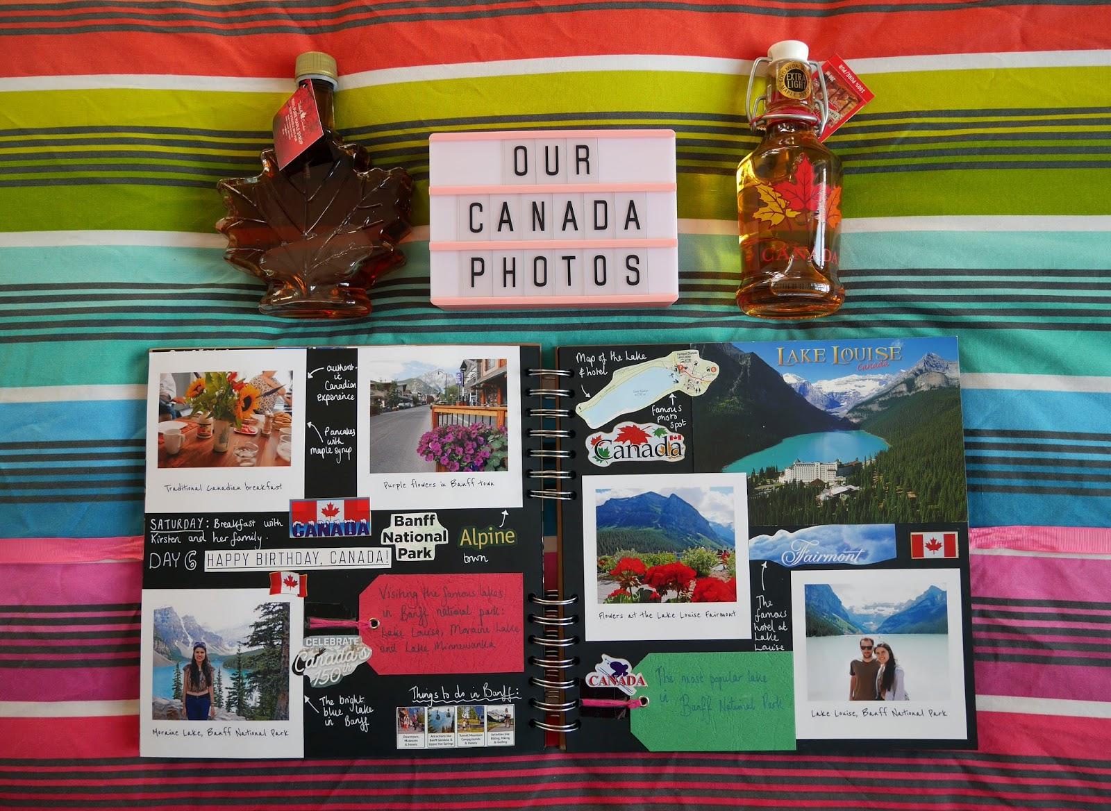 Canada travel scrapbook pages 7-8 (Banff National Park) featuring Printiki's retro prints