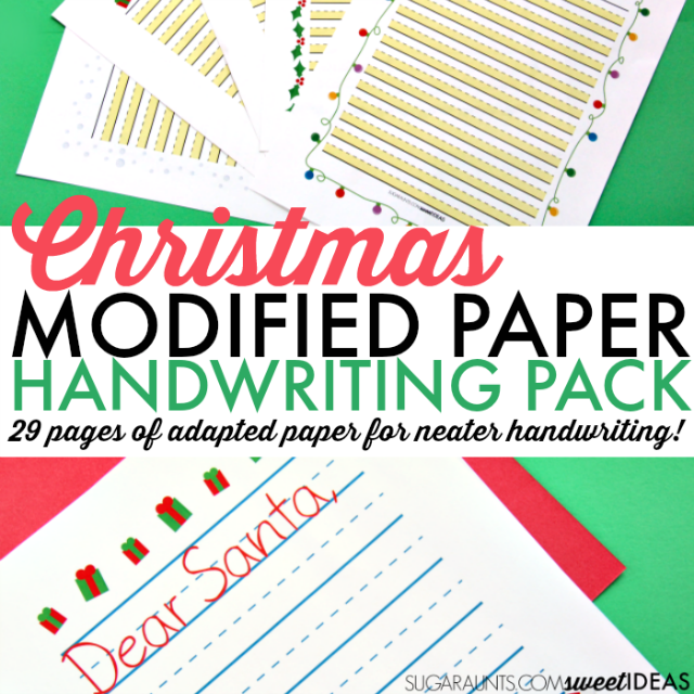 Color coded Christmas paper packet for handwriting needs.