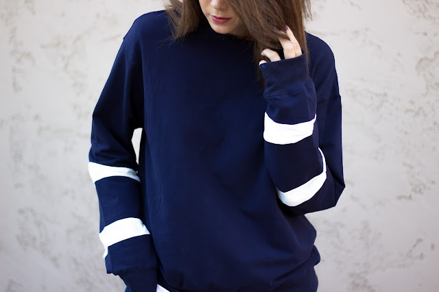 blue oversized sweater for Fall