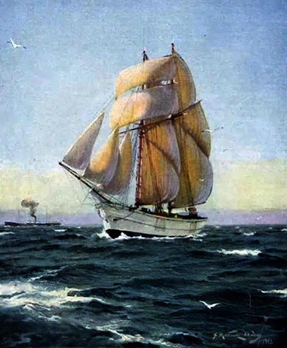 Barco en alta mar, Juan Martínez Abades, Pintor español, Paisajes de Juan Martínez Abades, Pintor Martínez Abades, Pintores españoles, Pintores Asturianos, Martínez Abades