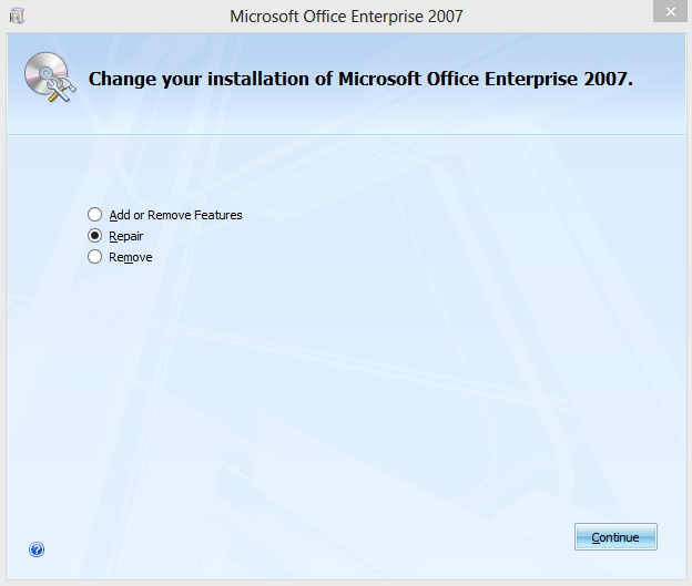 Kenapa microsoft office error 2503. An internal error has occurred