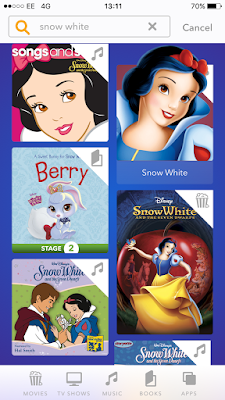 Screenshot of DisneyLife search for Snow White taken on my iPhone